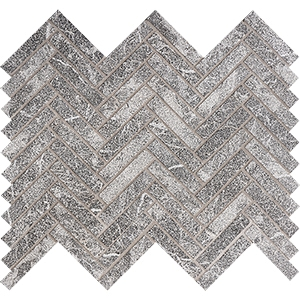 Iris Black Leather Herringbone Marble Mosaics 30,5x33,5