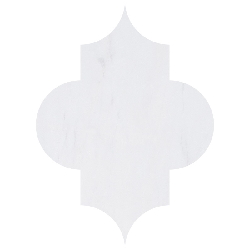 Snow White Polished 20x28 Arabesque Marble Waterjet Decos