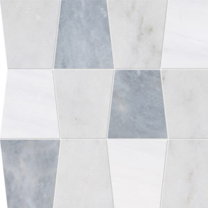 Glacier, Afyon Gray, Snow White Honed Tapered Marble Waterjet Decos 31,5x30,5