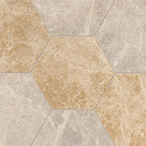 Paradise Multi Finish Hexagon Marble Waterjet Decos 14,5x12,5