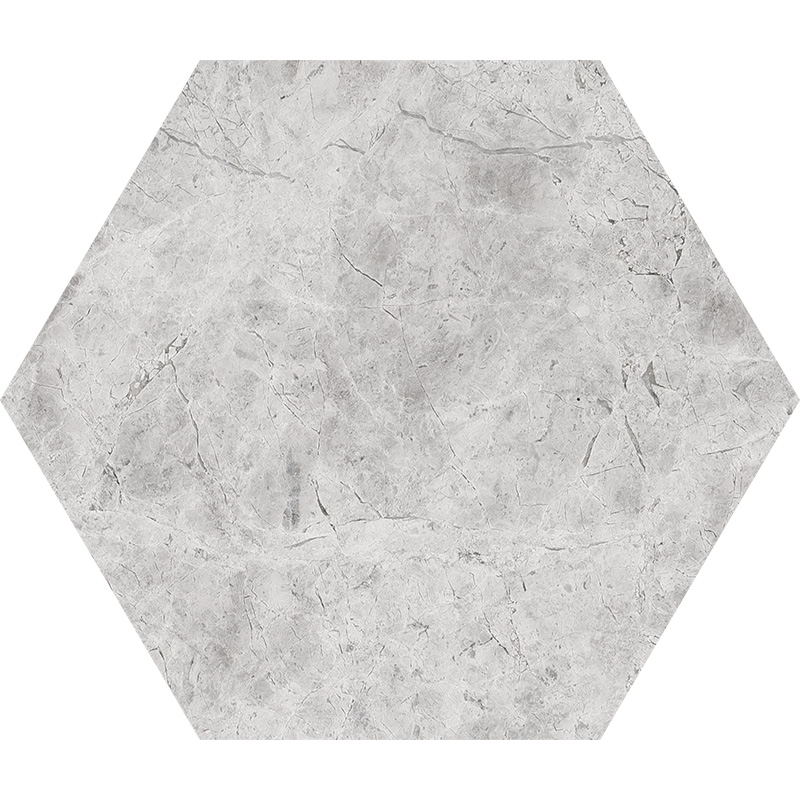 Silver Shadow Honed 14,5x12,5 Hexagon Marble Waterjet Decos