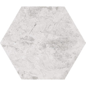 Silver Clouds Polished Hexagon Marble Waterjet Decos 14,5x12,5