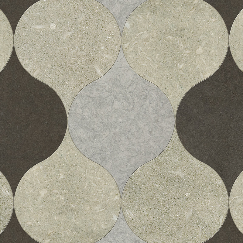 Olive Green, Bosphorus, Britannia Dark Honed 12,5x17,5 Winter Leaf Limestone Waterjet Decos