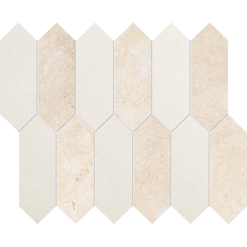Casablanca, Champagne Honed 33,5x28 Medium Picket Limestone Waterjet Decos