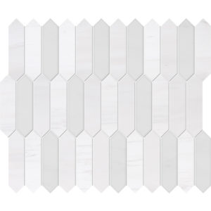 Snow White, Afyon White Honed&polished Baby Picket Marble Waterjet Decos 33,5x28