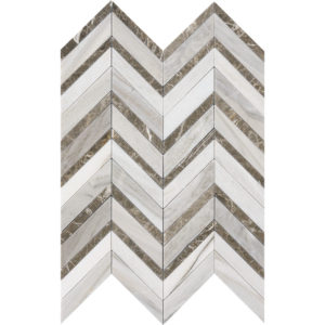 Skyline Dark Honed&polished Chevron Fusion Marble Mosaics 30,2x40,6