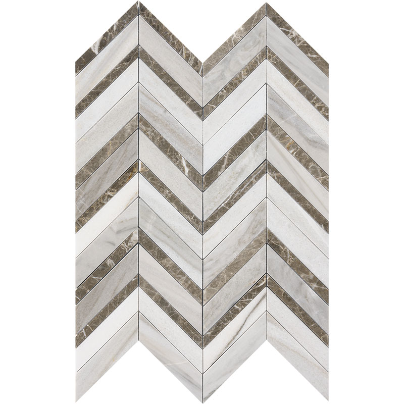Skyline Dark Honed&polished 30,5x29 Chevron Fusion Marble Waterjet Decos