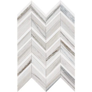 Skyline, Snow White Honed&polished Chevron Fusion Marble Mosaics 30,2x40,6