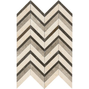 Heartsmere Honed Chevron Fusion Limestone Mosaics 30,2x40,6