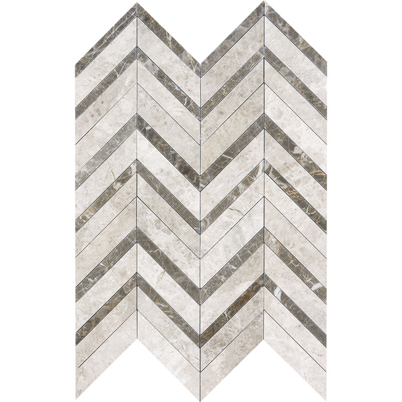 Silver Shadow Honed&polished 30,5x29 Chevron Fusion Marble Waterjet Decos