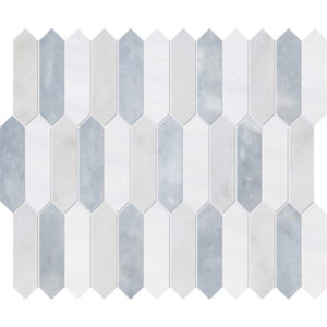Avalon, Snow White, Allure Honed Baby Picket Marble Waterjet Decos 33,5x28