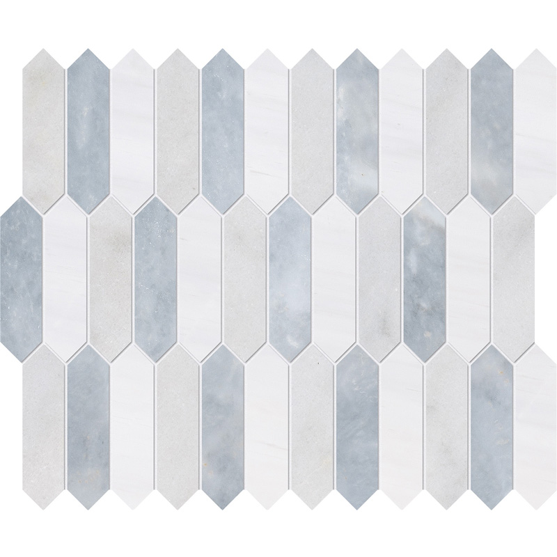 Avalon, Snow White, Allure Honed 33,5x28 Baby Picket Marble Waterjet Decos