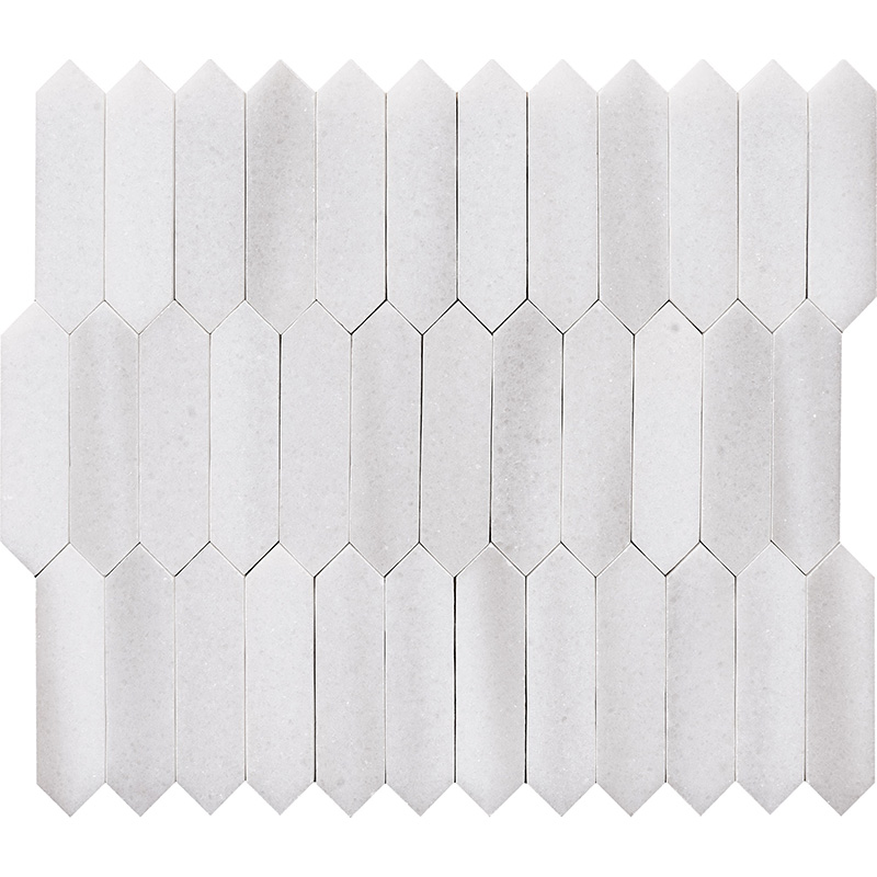 Frost White Polished 33,5x28 Baby Picket Marble Waterjet Decos