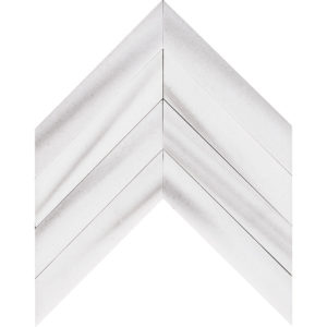 Frost White Polished Chevron Marble Waterjet Decos 33x25,4