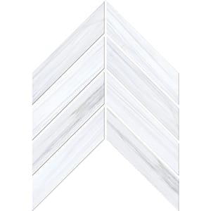 Bianco Dolomiti Classic Polished Chevron Marble Waterjet Decos 33x25,4