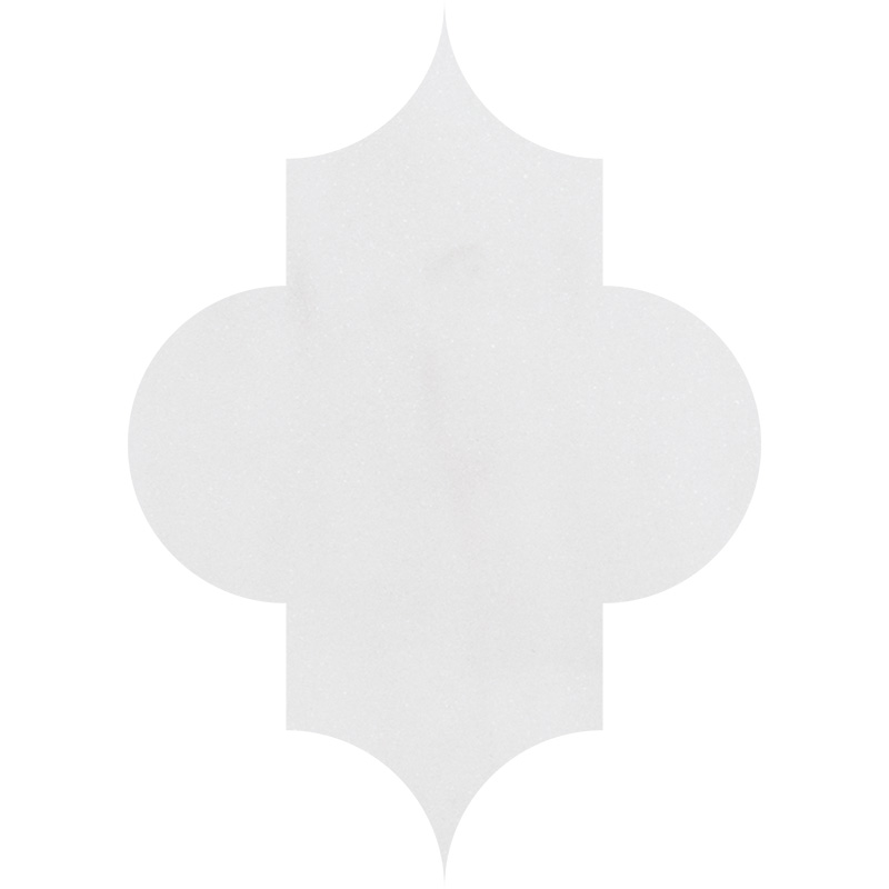 Aspen White Polished 20x27,94 Arabesque Marble Waterjet Decos