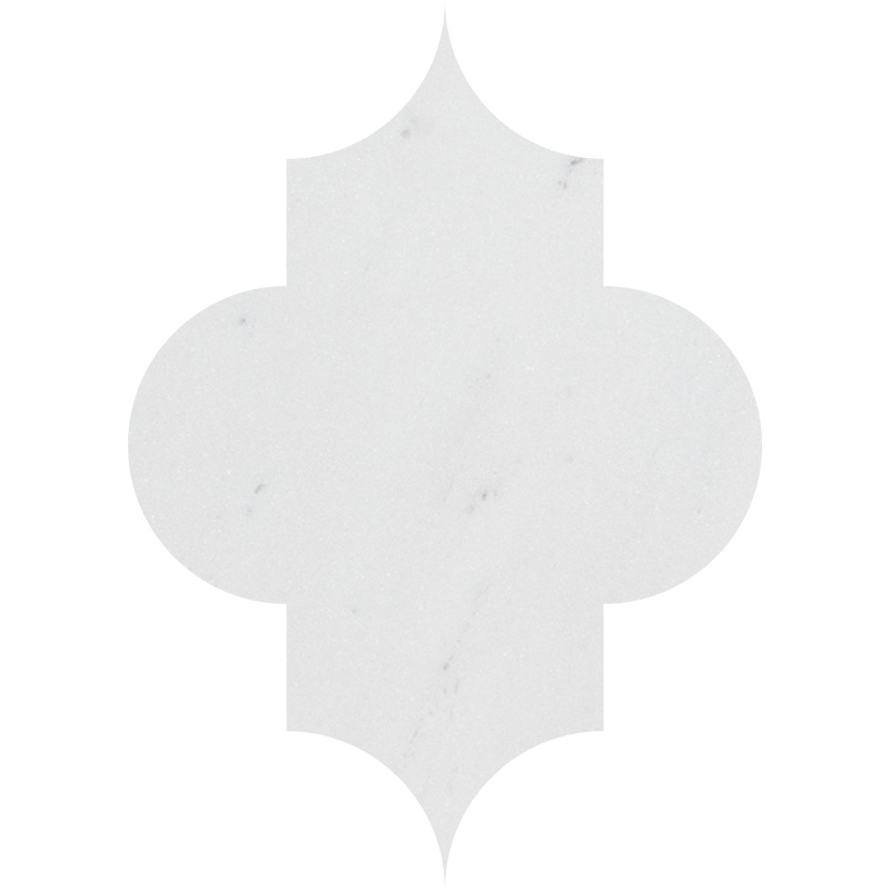 Aspen White Honed Arabesquette Marble Waterjet Decos