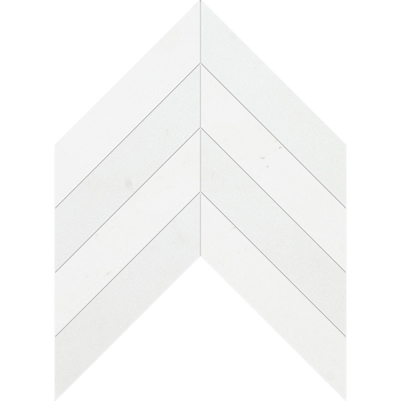Aspen White Honed 6,35x16,43 Chevron Marble Waterjet Decos