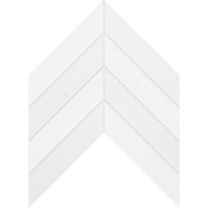 Aspen White Polished Chevron Marble Waterjet Decos 33x25,4