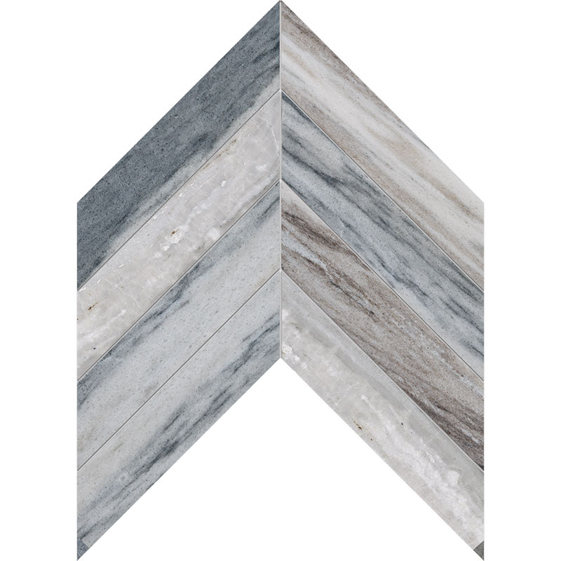 Palisandra Polished 6,35x16,43 Chevron Marble Waterjet Decos