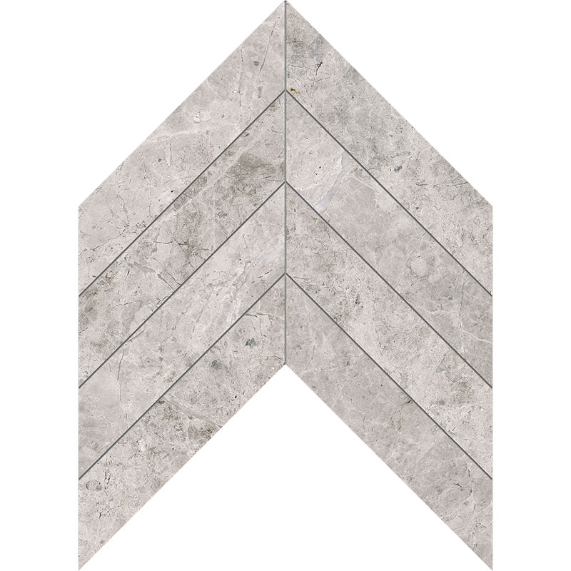 Silver Clouds Polished 6,35x16,43 Chevron Marble Waterjet Decos