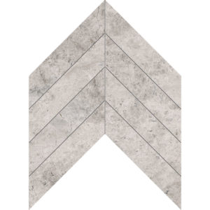 Silver Shadow Honed Chevron Marble Waterjet Decos 33x25,4