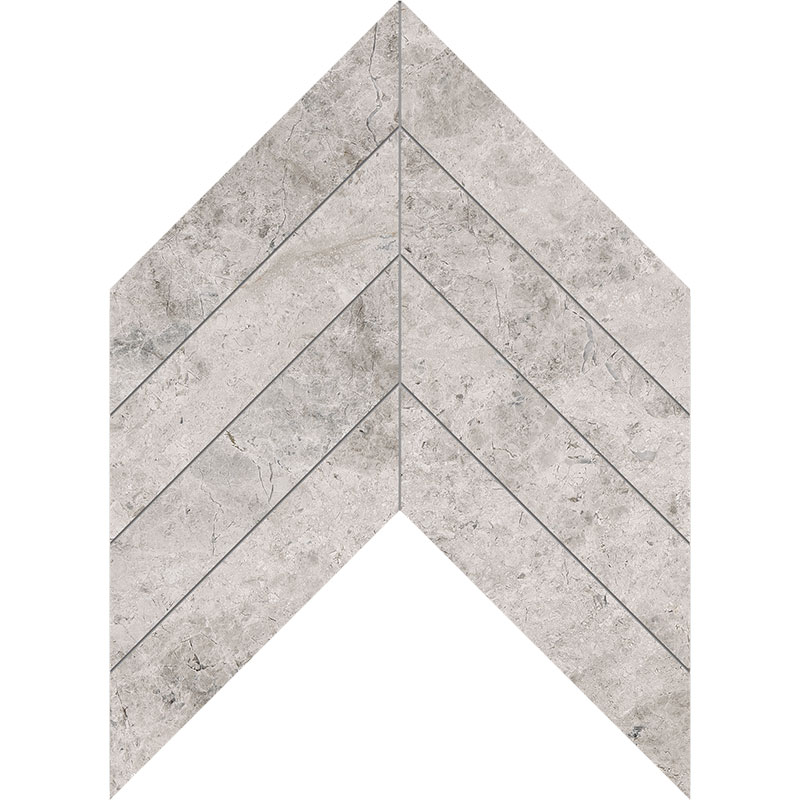 Silver Shadow Honed 6,35x16,43 Chevron Marble Waterjet Decos