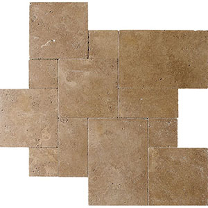 Walnut Dark 1 1/4 Tumbled Travertine Patterns Versailles Pattern