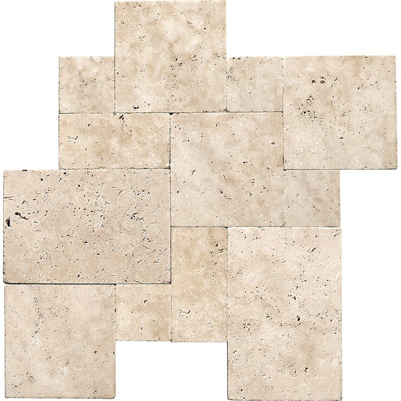 Ivory Tumbled Travertine Patterns Versailles Pattern