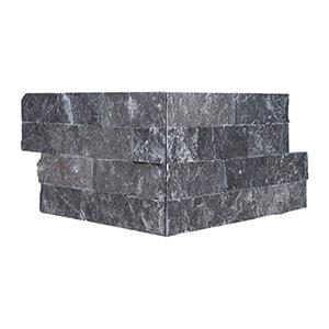 Black Rock Face Corner Marble Ledger Panel 15,2x30,5