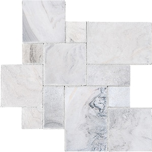Skyline Cross Cut Tumbled Marble Pavers Versailles Pattern