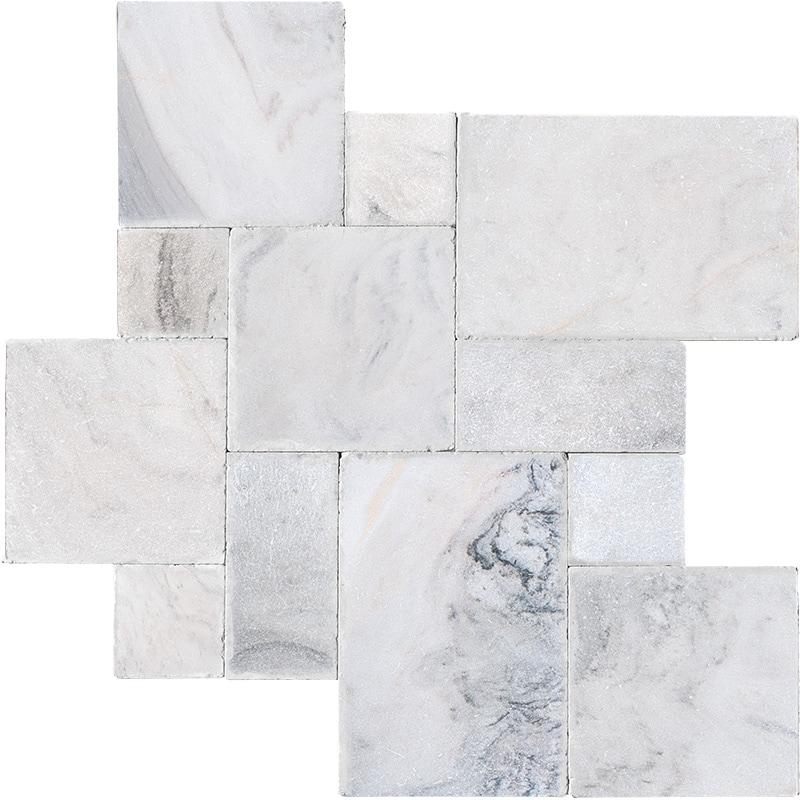 Skyline Cross Cut Tumbled Marble Pavers Versailles Pattern