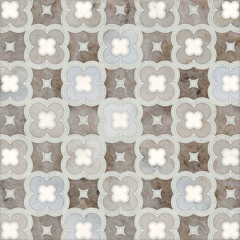 Avenza Light, Dolomite, Palisandra Multi Finish 27,94x27,94 Damascus Marble Waterjet Decos