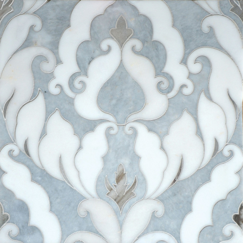 Afyon Grey, Afyon White, Palisandra Multi Finish 34,44x45,7 Rumi Marble Waterjet Decos