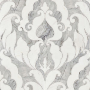 Avenza Dark, Dolomite Multi Finish Rumi Marble Waterjet Decos 34,44x45,7