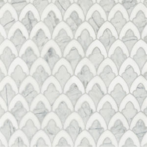 Afyon White, Avenza Dark Multi Finish Sophia Marble Waterjet Decos 22,32x34,22