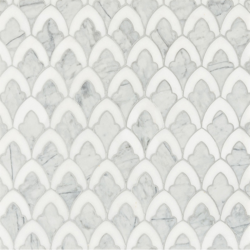 Afyon White, Avenza Dark Multi Finish 22,32x34,22 Sophia Marble Waterjet Decos
