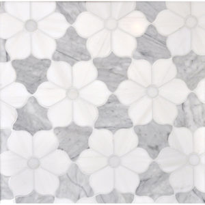 Afyon White, Avenza Dark, Dolomite Multi Finish Theodora Marble Waterjet Decos 30,81x35,56