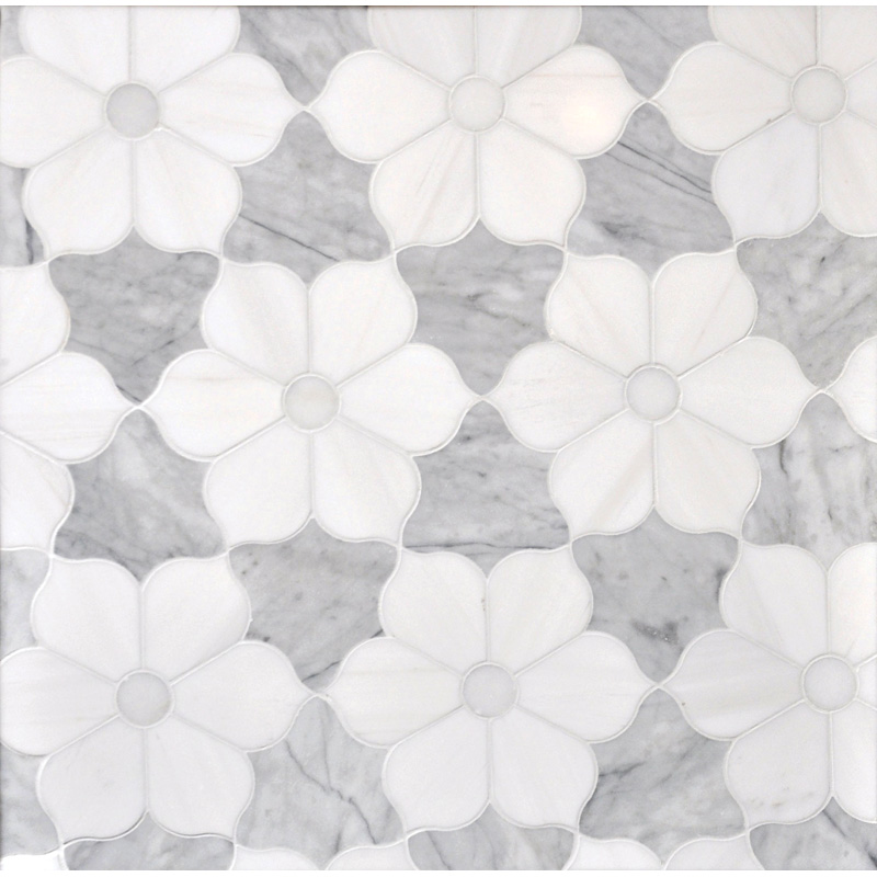 Afyon White, Avenza Dark, Dolomite Multi Finish 30,81x35,56 Theodora Marble Waterjet Decos