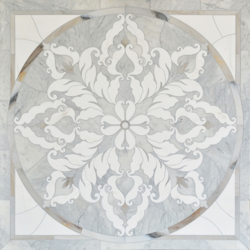 Avenza Light, Skyline, Snow White Multi Finish 122x122 Rumi Marble Medallions