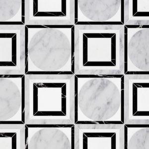 White Carrara, Black, Thassos White Multi Finish Cicero Marble Waterjet Decos