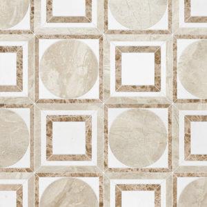 Diana Royal, Aspen White, Paradise Multi Finish Cicero Marble Waterjet Decos 30,5x30,5