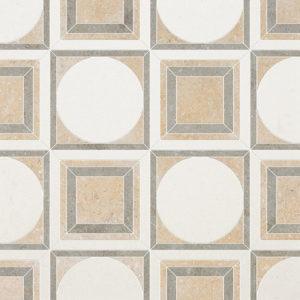Champagne, Seashell, Olive Green Multi Finish Cicero Limestone Waterjet Decos 30,5x30,5