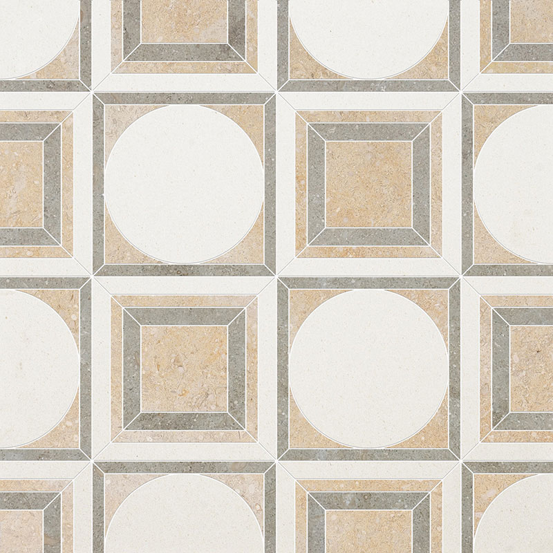 Champagne, Seashell, Olive Green Multi Finish 34,52x34,52 Cicero Limestone Waterjet Decos
