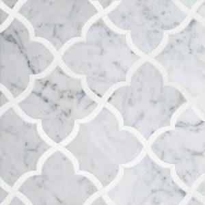 White Carrara, Thassos White Multi Finish Gaia Marble Waterjet Decos