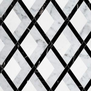 White Carrara, Black, Thassos White Multi Finish Hippodrome Marble Waterjet Decos