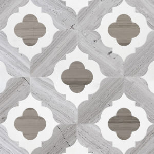 Haisa Light, Haisa Dark, Thassos White Multi Finish Irene Marble Waterjet Decos