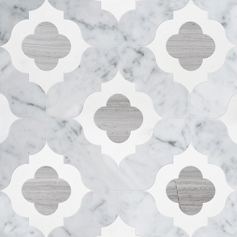 White Carrara, Haisa Light, Thassos Multi Finish Irene Marble Waterjet Decos