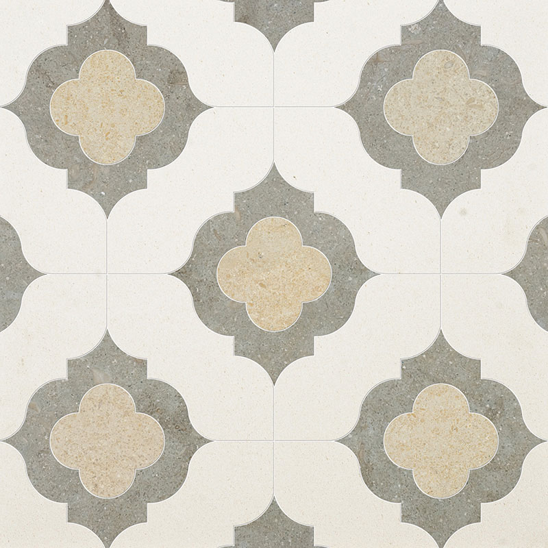 Champagne, Seashell, Olive Green Multi Finish 28,94x28,94 Irene Limestone Waterjet Decos