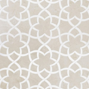 Crema Bella, Thassos White Or Aspen Whit Polished Isidore Marble Waterjet Decos